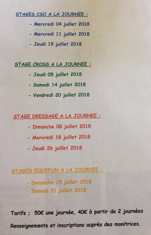 stages journee